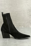 Flash Black Suede Leather Pointed Mid-Calf Boots 3