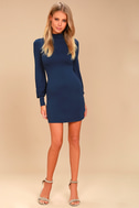 Midnight in Paris Navy Blue Long Sleeve Dress 2
