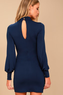 Midnight in Paris Navy Blue Long Sleeve Dress 3