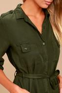 Remy Forest Green Long Sleeve Shirt Dress 3