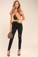 Roxanne Super High Rise Washed Black Distressed Skinny Jeans 1
