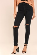 Roxanne Super High Rise Washed Black Distressed Skinny Jeans 2