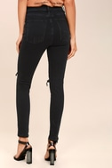 Roxanne Super High Rise Washed Black Distressed Skinny Jeans 3