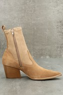 Flash Natural Suede Leather Pointed Mid-Calf Boots 3