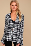 When We Wake Navy Blue Plaid Knotted Long Sleeve Top 1
