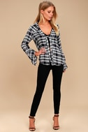 When We Wake Navy Blue Plaid Knotted Long Sleeve Top 2