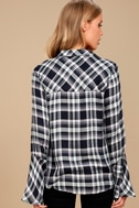 When We Wake Navy Blue Plaid Knotted Long Sleeve Top 3