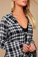 When We Wake Navy Blue Plaid Knotted Long Sleeve Top 4
