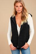 Meiker Black Hooded Puffer Vest