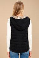 Meiker Black Hooded Puffer Vest 4