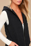Meiker Black Hooded Puffer Vest 5
