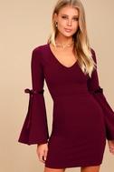 Once in a While Burgundy Flounce Sleeve Bodycon Dress 3
