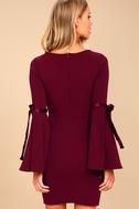 Once in a While Burgundy Flounce Sleeve Bodycon Dress 4