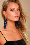 Time to Tassel Gold and Navy Blue Tassel Earrings 1