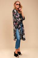 Morning Sun Black Floral Print Kimono Top 3