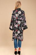 Morning Sun Black Floral Print Kimono Top 4