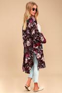 Morning Sun Burgundy Floral Print Kimono Top 2