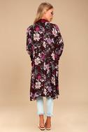 Morning Sun Burgundy Floral Print Kimono Top 3