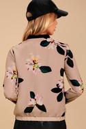 Ambre Beige Floral Print Bomber Jacket 4