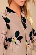 Ambre Beige Floral Print Bomber Jacket 5