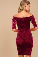 Wrapped Up In You Burgundy Velvet Off-the-Shoulder Dress 3