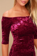 Wrapped Up In You Burgundy Velvet Off-the-Shoulder Dress 4
