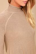 Weekend Snuggle Light Brown Mock Neck Sweater Top 4