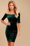 Wrapped Up In You Forest Green Velvet Off-the-Shoulder Dress 1