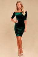 Wrapped Up In You Forest Green Velvet Off-the-Shoulder Dress 2