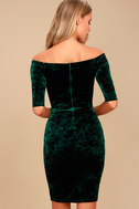 Wrapped Up In You Forest Green Velvet Off-the-Shoulder Dress 3