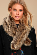 Oksana Brown Faux Fur Scarf 3