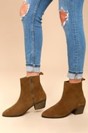 Iesha Cognac Brown Suede Leather Mid-Calf Boots 1