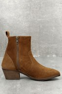 Iesha Cognac Brown Suede Leather Mid-Calf Boots 3