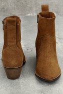 Iesha Cognac Brown Suede Leather Mid-Calf Boots 4