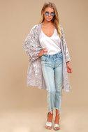 Grande Galerie Grey Velvet Print Kimono Top 1