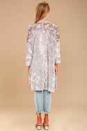 Grande Galerie Grey Velvet Print Kimono Top 3