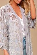 Grande Galerie Grey Velvet Print Kimono Top 4