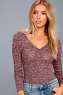 The Rogue Heather Burgundy Henley Knit Bodysuit 2