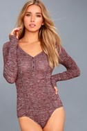 The Rogue Heather Burgundy Henley Knit Bodysuit 5