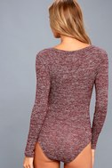 The Rogue Heather Burgundy Henley Knit Bodysuit 6