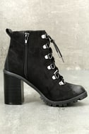 Adda Black Lace-Up Platform Booties 3