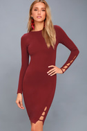 Haute Commodity Wine Red Long Sleeve Bodycon Dress 3