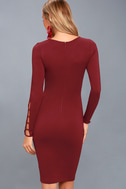 Haute Commodity Wine Red Long Sleeve Bodycon Dress 4