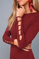 Haute Commodity Wine Red Long Sleeve Bodycon Dress 5
