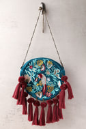 Flying Colors Teal Blue Embroidered Circle Clutch 2