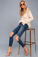 Freebirds II Medium Wash Distressed High-Waisted Skinny Jeans 1