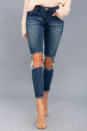 Freebirds II Medium Wash Distressed High-Waisted Skinny Jeans 2