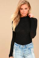 Weekend Snuggle Black Mock Neck Sweater Top 1