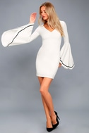 Most Beloved White Bell Sleeve Bodycon Dress 5