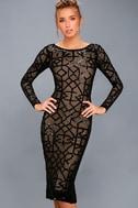 Mila Black Sequin Long Sleeve Midi Dress 3